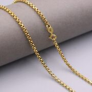 23.6 Inch Pure 18k Yellow Gold 2.5mm Round Box Link Chain Necklace For Woman