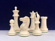 1849 Staunton Cooke Type Camel Bone Hand Carved Chess Pieces Set King 3.75