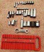 Snap On Mac Granco 1/4 3/8 1/2 Drive Misc Sockets Magnetic Tray Lot Of 34