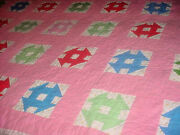 Vintage Indiana Miriah Hill Picnic Quilt Colorful Decor As Found Estate Pc