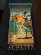 Rare Vintage 1967 Schlitz Beer Rodeo Rider Large Plastic Lighted Wall Sign