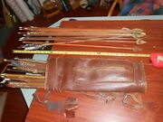 Lot Of 51 Arrows With Leather Quiver And Archery Glove Display Or Repair
