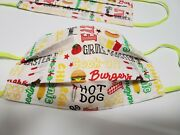 Grill Cook Out Bbq Burger Hotdog Food Fun Face Mask Triple Layer Reversible 🍔