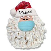 Santa Face W/ Face Mask Pandemic Quarantine Personalized Ornament Polymer Clay