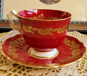 Vtge. Aynsley Red Gilt Tea Cup Saucer Bone China Fancy Tea Cup Gift Collectible