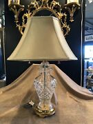 Vintage Waterford Clear Cut Glass Lismore Ginger Jar Table Top Lamp W/ Shade