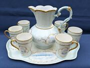 Incredible 8 Piece Limoges Lemonade Set With Hand Painted Sailboat Scenes