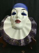 Vintage Porcelain Harlequin Clown Blue Purple Glossy Finished Mask Wall Mounted