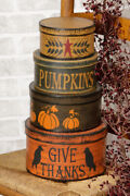 New Primitive Distressed Autumn Thanksgiving Give Thanks/pumpkins Nesting Boxes