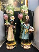 Large/tall Unique Pair Of Majolica Pottery Vases With Moors 25 H