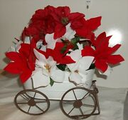 Floral White Metal Wagon Christmas Winter Decor Table Silk Flowers Holiday 22