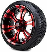 4 14 Red Blue White Aluminum Alloy Golf Cart Car Rim Wheels And 185/60-14 Tires