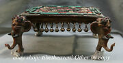 13.4 Antique Tibet Bronze Turquoise Red Coral Elephant Foot Bell Table Desk