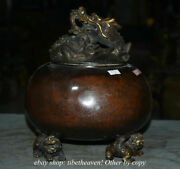 10.4 Mark Old China Red Copper Dynasty Palace Lion Foot Incense Burners Censer