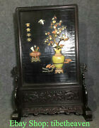 23.6 Old China Rosewood Shell Hand-carved Dynasty 富贵平安 Bottle Folding Screen