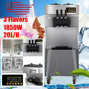 New 20l/h Commercial 3 Flavor Soft Serve Ice Cream Maker Stainless Steel Machine