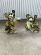 Two Very Rare Chalk Tiger Cubs Statues/ornaments