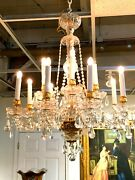 Baccarat Style Crystal And Gilded Bronze Chandelier