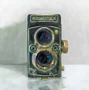 Vintage Film Camera Oil Painting Archival Giclee Print Poster Wall Art