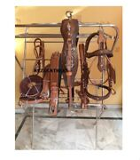 Antique Finishing Leather Driving Harness For Single Horse Cart-brown