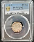 1916-d Germany 1/2 Mark Pcgs Ms 67 Nice Silver Coin 774 19-3.