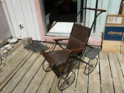 Antique Baby Stroller Pram Wood Leather Child Victorian Decor Photography Prop