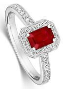 Ruby And Diamond Ring 18k White Gold Emerald Cut Engagement Certificate Size J-q