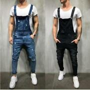 Menand039s One-piece Denim Overalls Hole Sling Jeans Jumper Button Fly Ankle-length