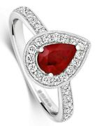Ruby And Diamond Ring 18k White Gold Pear Cluster Engagement Certificate