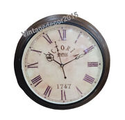 Collectible Nautical Brown Wooden Home Office Wall Decorative Round Clock