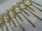Gorgeous 19th C French 950 Gilded Silver 12 Ice Cream Spoons Russian St Compere