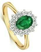 Emerald And Diamond Ring 18k Yellow Gold Cluster Engagement Certificate Size J-q