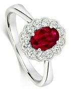 Ruby And Diamond Ring 18k White Gold Cluster Halo Certificate Size J-q