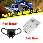Front Bumper Guard + Rear Swing Arm Skid Plate For Yamaha Raptor 700 2006-2018