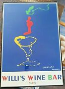 Willi's Wine Bar 1989 Lithographic Poster Print By Wayne Ensrud