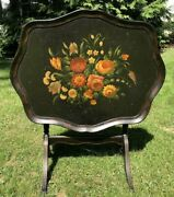 Antiqueebonizedandhand Painted Wood Folding Tray Table,22.5h X 28.5w X 23d