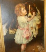 Antique Oil Painting Victorian Edwardian Girl With Collie Dog