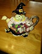 Fitz And Floyd Ceramic Halloween Hoedown Witch W/ Hat And Cat Teapot 1992 No Box