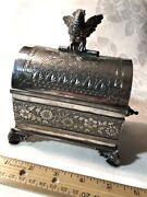 Antique 1880's Victorian Tufts Jewelry Cask Box Quadruple Silver-plate Handled