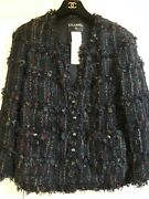 06c Most Wanted New Tweed Lace Fringed Black Multicolor Jacket Fr46 6k