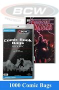 1000 Bcw Modern/current Comic Book Bags 6 7/8 X 10 1/2 2 Mil Safe Storage Sleeve