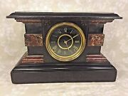 Antique Welch Faux Marble And Wood Mantel Clock Reno Model Runs Strikes