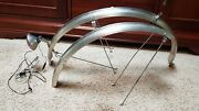 Vintage Esge Chromoplastic Bicycle Bike Fenders Front And Rear Set With Taillight