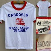 Vintage Cabooses Mean Safer Trains Ringer Tee T-shirt M Made In Usa 80s 1980s