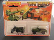 Moc Matchbox Tp11 Two Twin Pack Military Honda Motorcycle 18 Army Jeep 38 Olive