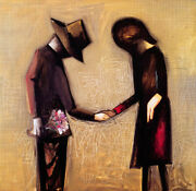 Charles Blackman The Meeting Framed - Collectible Signed Modernist Print + Lop