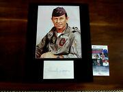 Chuck Yeager Speed Of Sound Ace Pilot Signed Auto Index Card Matted Photo Jsa