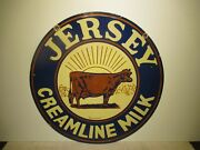 30 Rare Authentic 1930 Dsp Jersey Creamline Milk Porcelain Gas And Oil Co. Sign