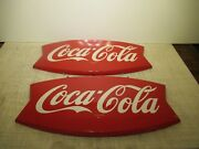 Two Authentic 12x26 Red Fish-shape 1943 Painted Coke Signs Gas And Oil Co. Sign