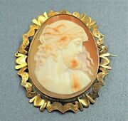 Women's 9ct Gold Caemo Shell Brooch Male Roman Face Vintage Collectable